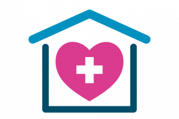 image of a pink heart with a white cross in the centre surrounded by the outline of a house