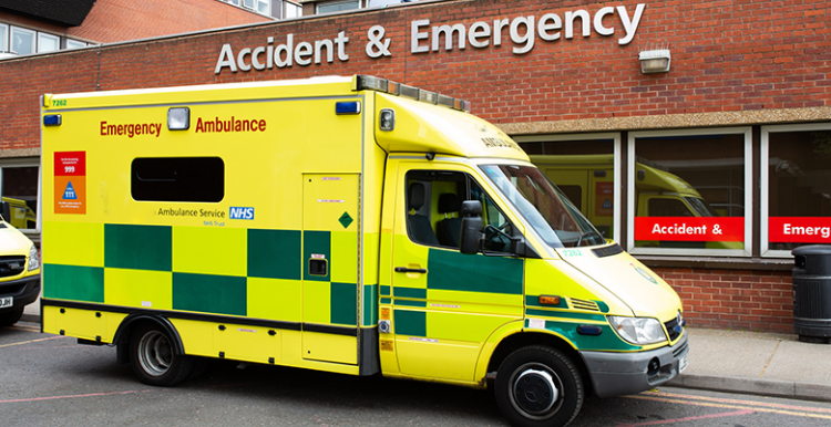 image of an ambulance outside an A&E department