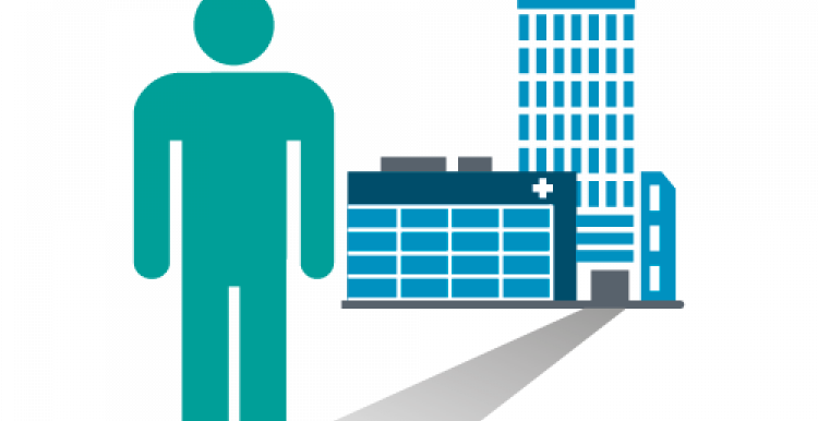 Graphic of a stick-figure standing in front of a hospital