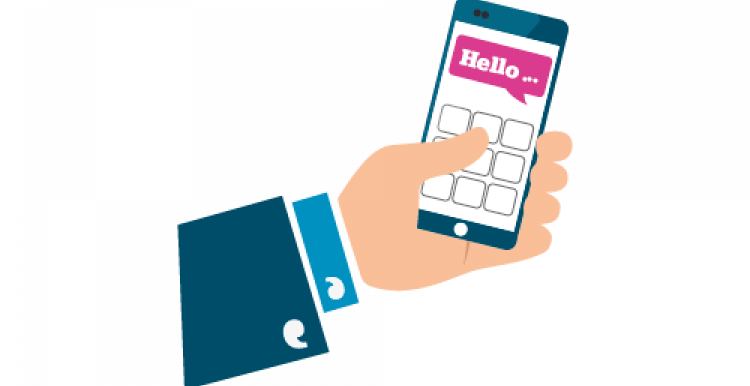 Image of hand holding a mobile phone