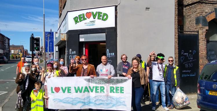 Members of the community outside the Love Wavertree shop