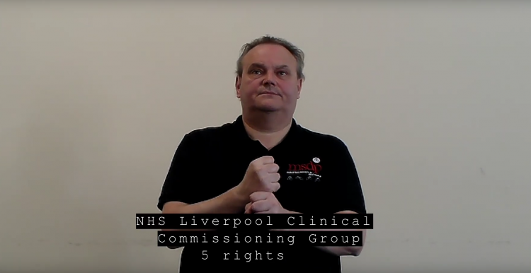 Screenshot from NHS 5 rights BSL video