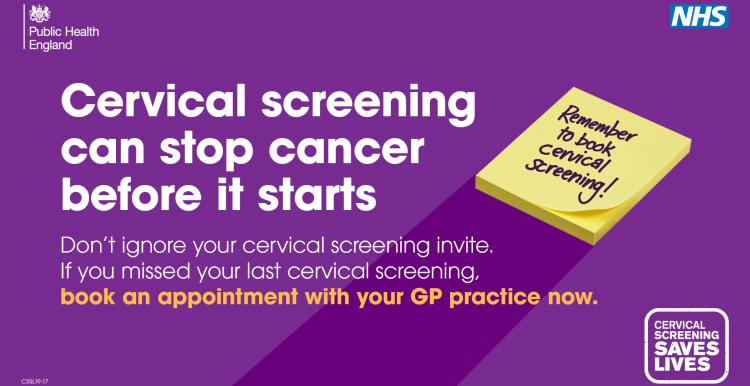 Purple banner with text: cervical screening can stop cancer before it starts. Don't ignore your cervical screening invite. If you missed your last cervical screening, book an appointment with your GP practice now.