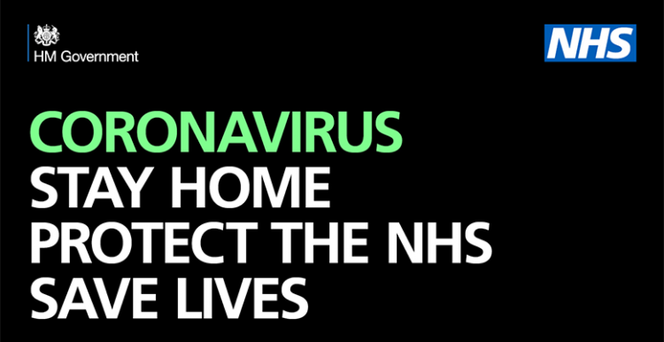 Coronavirus public information logo - Stay home. Protect the NHS. Save lives.