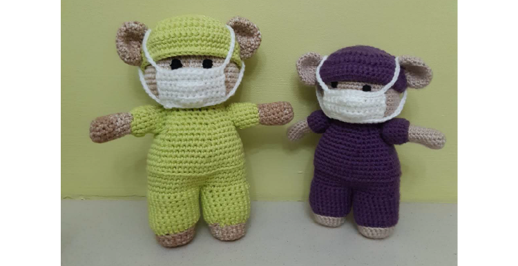 Teddies knitted by Lister Steps Knit and Natter Group