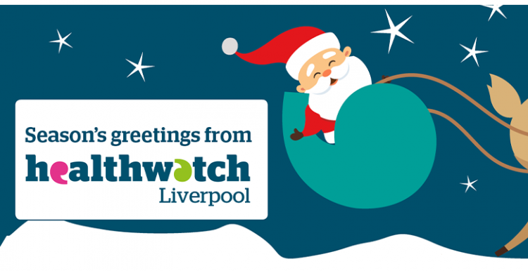Season's greetings from Healthwatch Liverpool - santa riding a sleigh shaped like an inverted comma