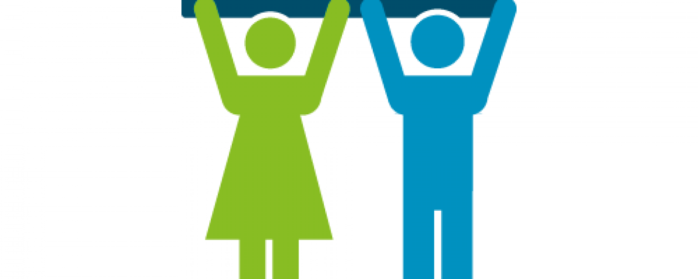 Two stick figures, holding up a sign that reads