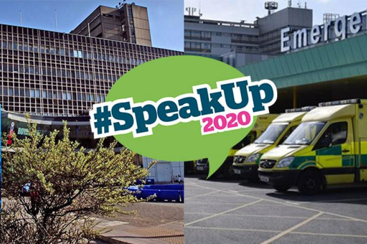 Image of Aintree and Royal Liverpool A&E department exteriors with #SpeakUp2020 logo