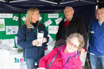 Elderly couple speaking to Healthwatch