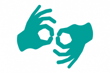 Image of two hands doing sign language