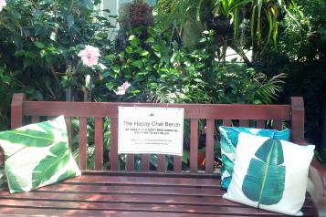 Image of 'The Happy Chat Bench' in Sefton Park Palmhouse
