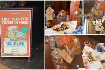 Collage of images taken at Cosy club of the 'free teas for those in need' social morning