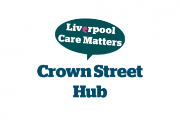 image of liverpool care matters logo above the words Crown Street Hub