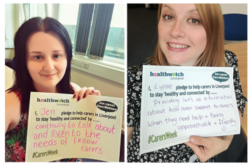 image of Jen and Lynne with their carers week pledges