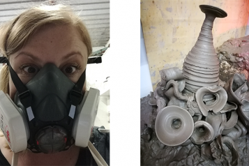 Photo of Lynne in her pottery gear and a pile of clay offcuts and rejected pieces