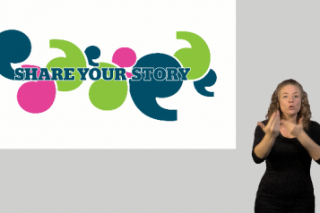 Still image from share your story video featuring BSL interpreter