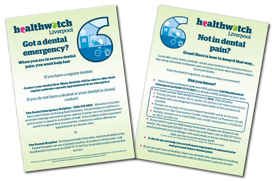 Image of NHS Dentist information card