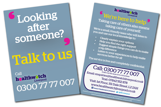 Image of Healthwatch Liverpool Carers card