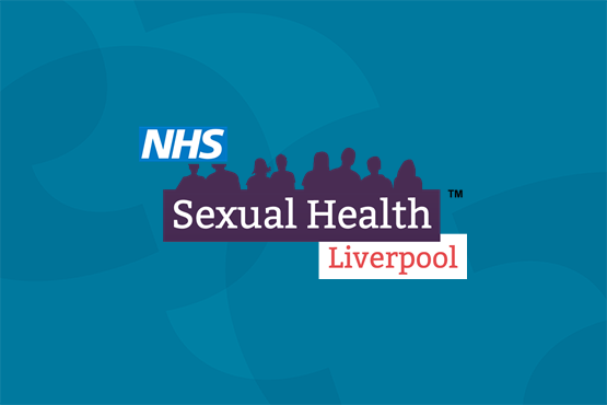 sexual health liverpool logo on blue background