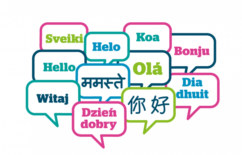a collection of speech bubbles, saying 'hello' in multiple languages