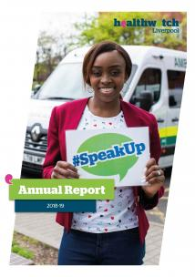 Image of front cover of Healthwatch Annual Report 2018-19